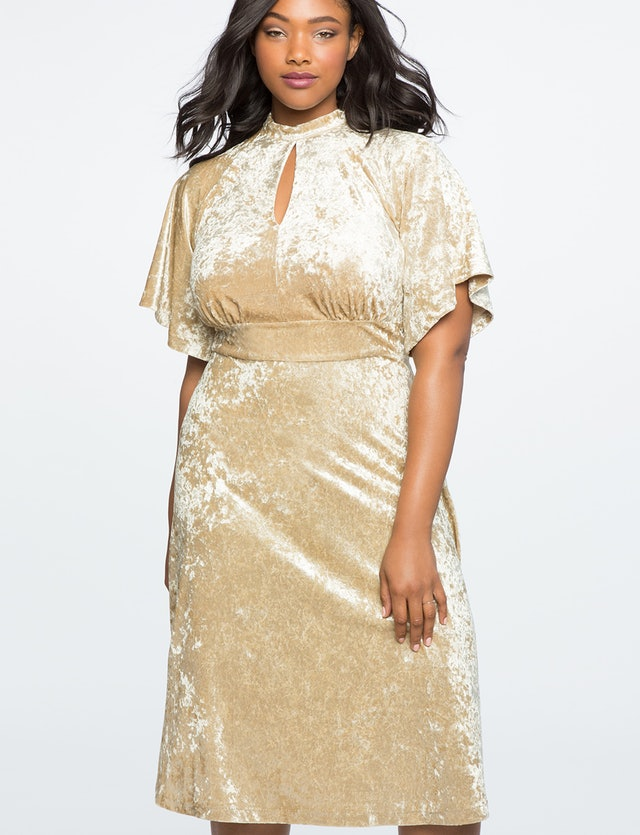 Eloquii Crushed Velvet Midi Dress