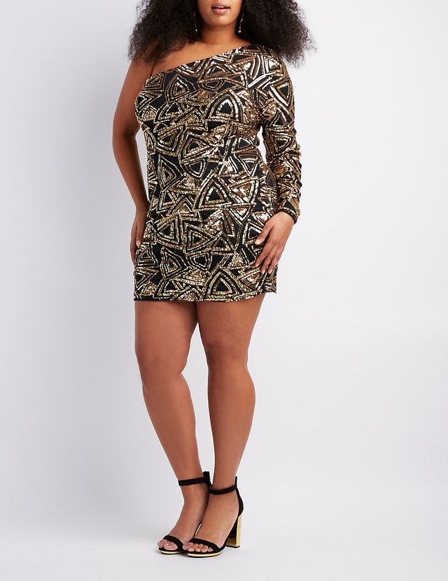 Charlotte Russe Plus Size Sequins One Shoulder Bodycon Dress